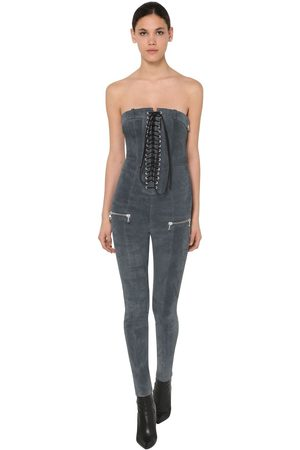 UNRAVEL Lace Up Stretch Suede Jumpsuit