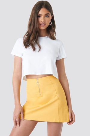 NA-KD Ring Puller A-Line Mini Skirt - Yellow