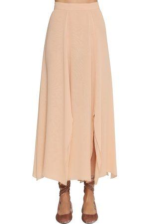 Max Mara Layered Silk Crepe Midi Skirt
