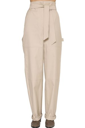 Max Mara Wide Leg Cotton Canvas Pants