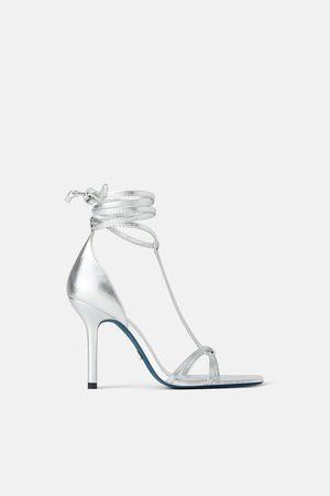 Zara Ledersandale mit absatz zum schnüren – blue collection