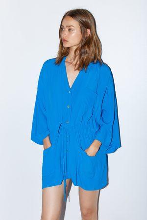 Zara Gerüschte bluse mit taschen