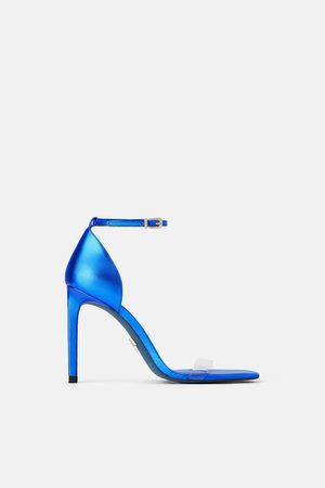 Zara Lederpantolette mit absatz blue collection