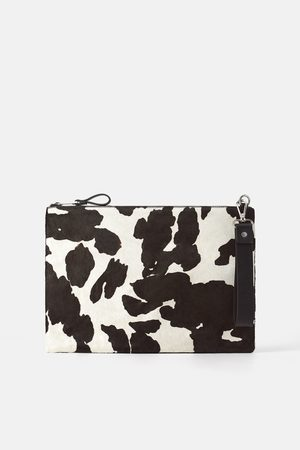 Zara Damen Clutches - Clutch aus leder mit animalprint
