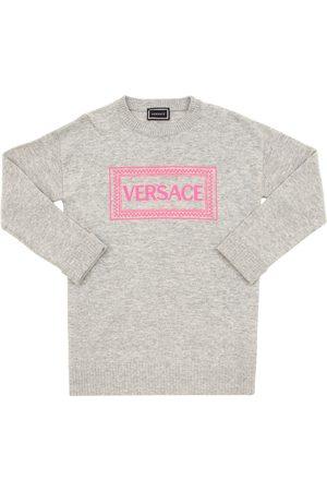 VERSACE Strickkleid Aus Wollmischung Mit Logo
