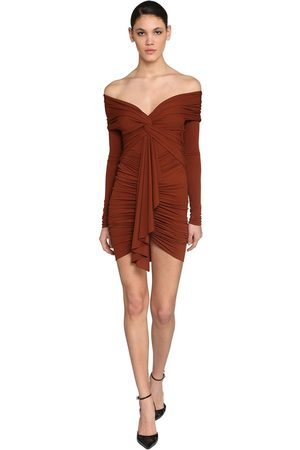 ALEXANDRE VAUTHIER Off Shoulder Stretch Jersey Mini Dress