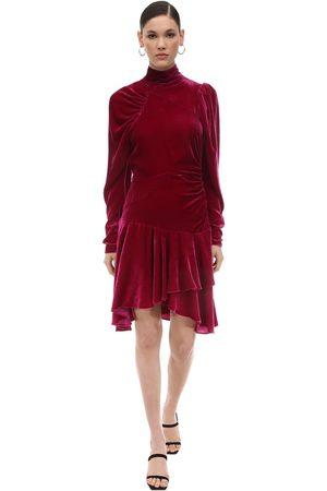 ROTATE Damen Kleider - Draped Velvet Mini Dress