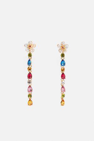 Zara Damen Ohrringe - Blüten-ohrringe mit echten perlen und schmucksteinen
