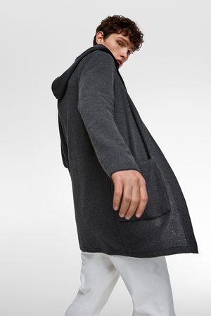 Zara Lange strickjacke mit kapuze