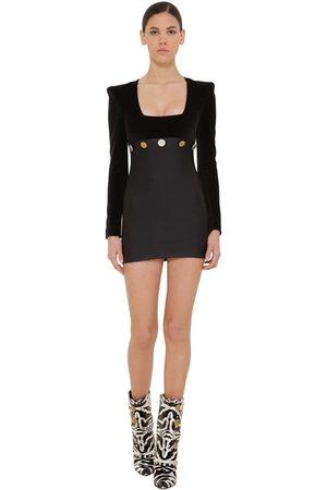 FAUSTO PUGLISI Embellished Lycra & Velvet Mini Dress