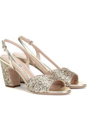 Miu Miu Slingback-Sandalen mit Glitter