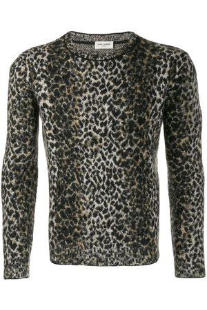 Saint Laurent Herren Strickpullover - Intarsien-Pullover mit Leopardenmuster