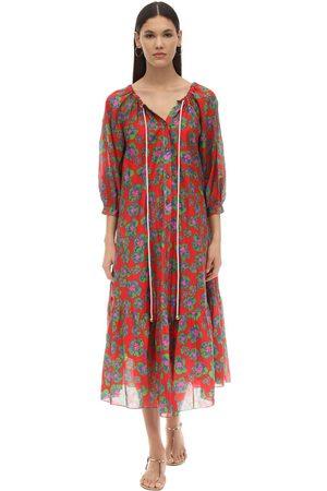 Borgo De Nor Natalia Floral Print Silk & Cotton Dress