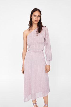 Zara Asymmetrisches kleid mit laméfäden