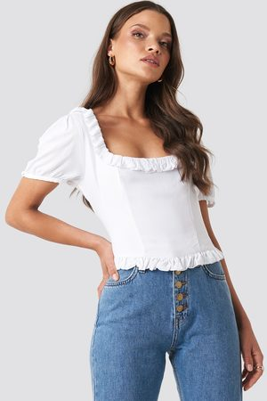 XLE the Label Colleen Cropped Frill Top - White