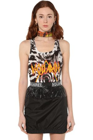 Dsquared2 Logo Tie Dyed Cotton Jersey Tank Top