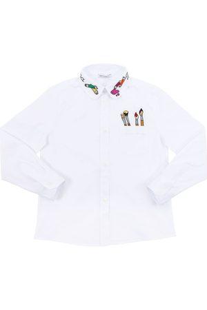 Dolce & Gabbana Mädchen Blusen - Bluse Aus Stretch-baumwollpopeline Mit Stickerei