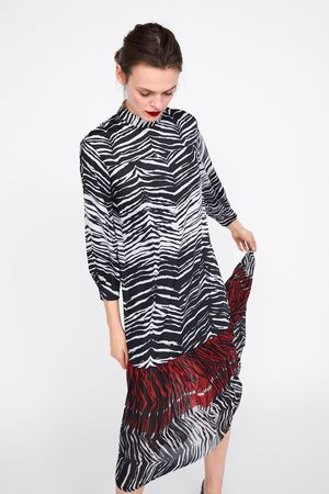 Zara Kombiniertes kleid mit animalprint