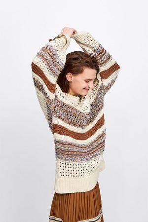 Zara Damen Pullover - Oversize-pullover aus materialmix