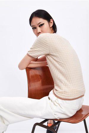 Zara Pullover mit strukturmuster und kontrastbiesen