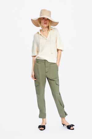 Zara Damen Pullover - Pullover mit strukturmuster und ballonärmeln