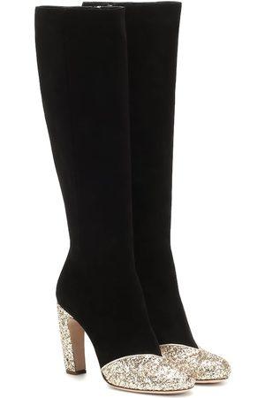 Miu Miu Stiefel aus Veloursleder mit Glitter