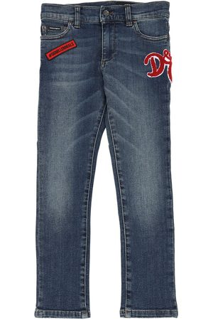 Dolce & Gabbana Jeans Aus Stretch-baumwolldenim Mit Patch