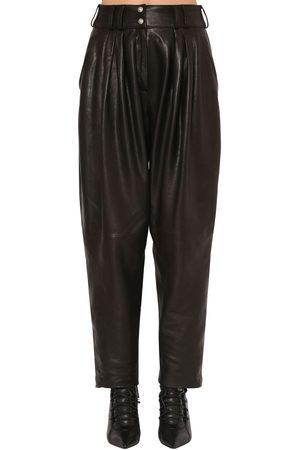 Balmain Pleated Leather Pants