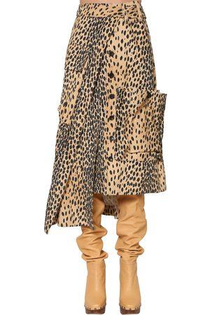 Jacquemus Damen Bedruckte Röcke - Asymmetric Printed Cotton Velvet Skirt