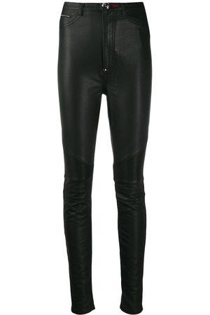 Philipp Plein Damen Slim & Skinny Hosen - Bikerhose mit hohem Bund