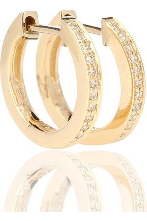 Sydney Evan Creolen Huggie aus 14kt Gelbgold mit weißen Diamanten