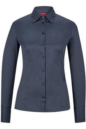 HUGO Slim-Fit Bluse aus bügelleichter Popeline