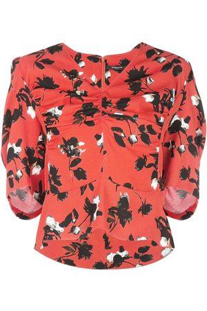 Derek Lam Damen Tops & T-Shirts - Kurzärmeliges Top mit Blumen