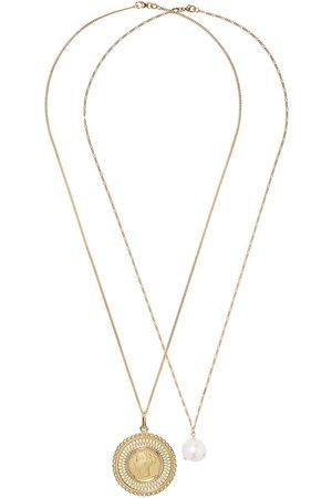 WOUTERS & HENDRIX 18kt Goldhalsketten mit Perlen- und Münzanhänger