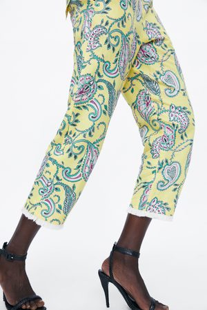 Zara Damen Hosen & Jeans - Hose mit print und fransen
