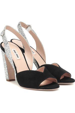 Miu Miu Damen Sandalen - Slingback-Sandalen mit Glitter