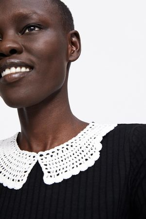 Zara Shirt mit häkelkragen