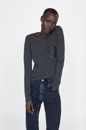 Zara T-shirt mit tasche mit kunstfelleinsatz