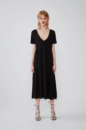 Zara Damen Kleider - Kleid mit volants