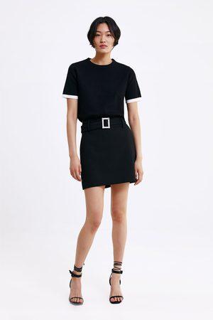Zara Damen Freizeitkleider - Strickkleid mit kontrastbiesen