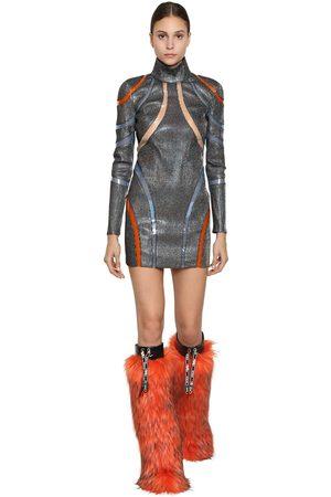 Byblos Tulle & Lurex Mini Dress W/ Pvc