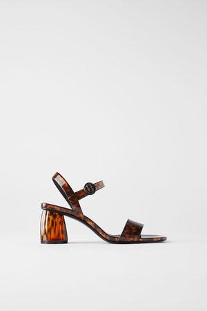 Zara Damen Sandalen - Sandale mit blockabsatz in schildpattoptik