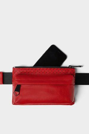Zara Rote gürteltasche mit mikroperforierungen