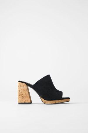 Zara Sandale aus veloursleder mit blockabsatz