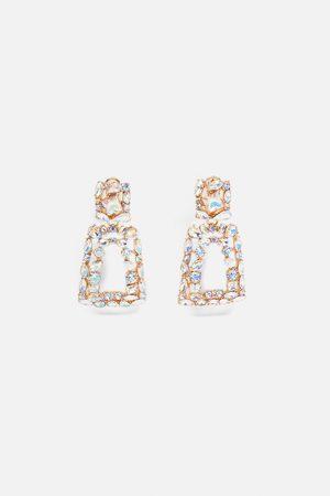 Zara Geometrische ohrringe mit glitzersteinen