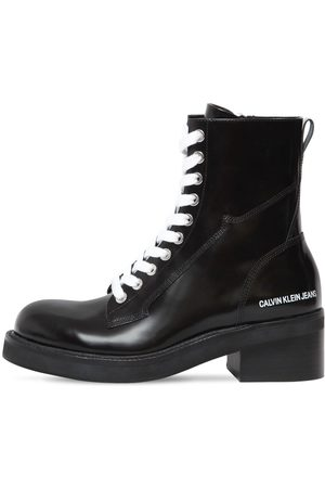 Calvin Klein 50mm Ebba Brushed Leather Ankle Boots