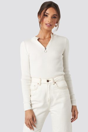 NA-KD Zip Knitted Sweater - White