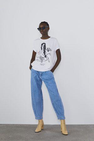 Zara T-shirt mit leopardenmuster und text