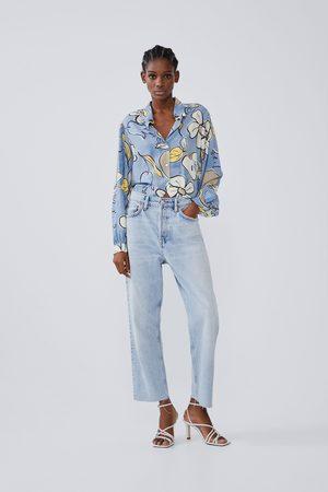 Zara Damen Blusen - Gemustertes hemd mit weiten ärmeln