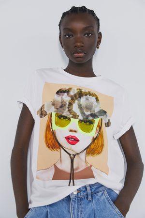 Zara T-shirt mit print vorne